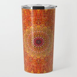 Red Burst Mandala 0118 Travel Mug