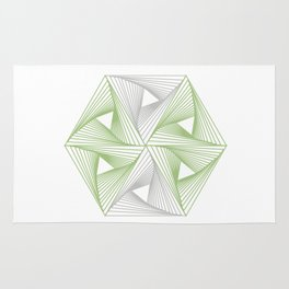 Optical illusion forming hexagon with triangles- Line composition forming different shapes Rug