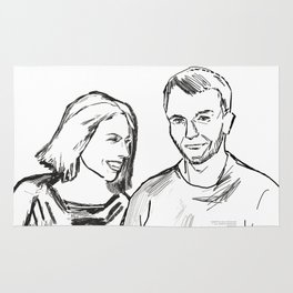 She and he black white drawing, digital illustration Rug