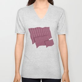 """Pink Vertical Lines Wool Texture"" Unisex V-Neck"