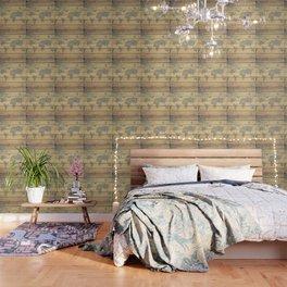 Metallic Foil Map on Oak Wallpaper