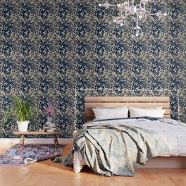 Modern stylish navy blue ivory confetti pattern Wallpaper