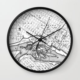 Vintage Map of Richmond Virginia (1884) BW Wall Clock