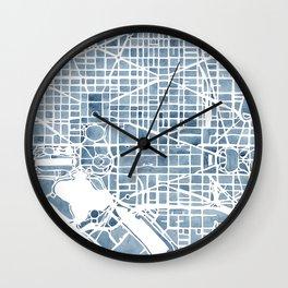 Washington DC Blueprint watercolor map Wall Clock