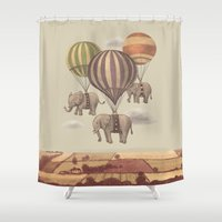 thailand Shower Curtains featuring Flight of the Elephants  by Terry Fan