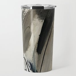 Drift [5]: a neutral abstract mixed media piece in black, white, gray, brown Travel Mug
