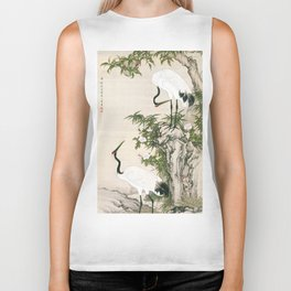 Cranes, Peach Tree, and Chinese Roses Biker Tank