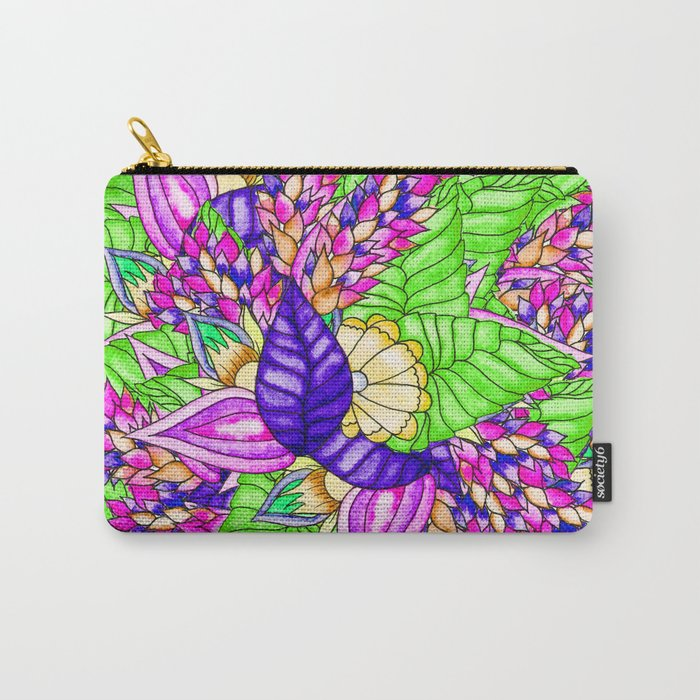 Bright purple green floral pattern waercolor illustration Carry-All Pouch