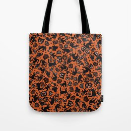 Halloween Cats on orange Tote Bag