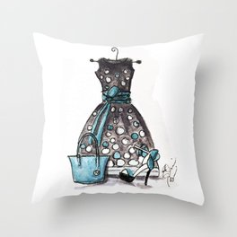 Dots and Shoes Fashion Watercolor Throw Pillow
