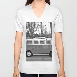 Retro Van (Black and White) Unisex V-Neck