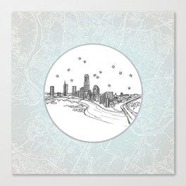 Austin, Texas City Skyline Illustration Drawing Canvas Print