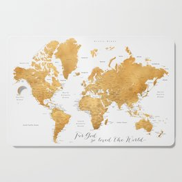 For God so loved the world, world map in gold Cutting Board