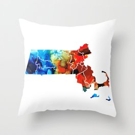 Massachusetts - Map Counties By Sharon Cummings Throw Pillow