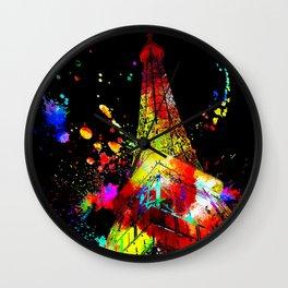 Tour Eiffel Watercolor Grunge Wall Clock