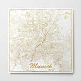 Munich Map Gold Metal Print