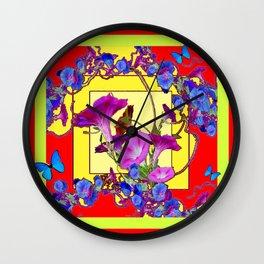 Red & Yellow Morning Glory Vines & Blue Butterflies Art Wall Clock