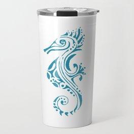 Seahorse tatoo blue Travel Mug