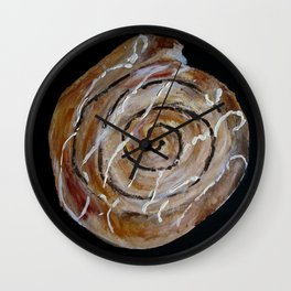 Cinnamon Swirl Bakery Still Life Acrylic Painting Wall Clock