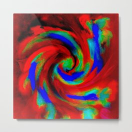 Red Blue Green Fireball Sky Explosion Metal Print