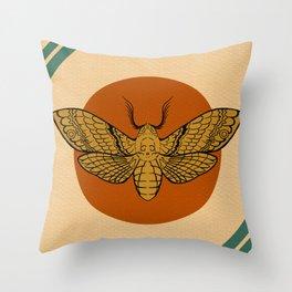Vintage Death Head Moth Throw Pillow