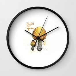 Yellow Fly Agaric Wall Clock