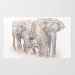 Elephant Family Rug