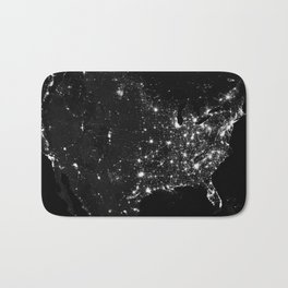 The Lights of the USA (Black and White) Bath Mat