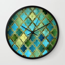 Moroccan Quatrafoil Pattern, Vintage Stained Glass, Blue, Green and Gold Wall Clock
