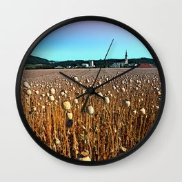 Poppy fields with a sunburn Wall Clock