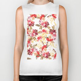 Pastel pink red brown modern hand drawn fall floral illustration Biker Tank