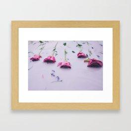 Pink roses in pink milk Framed Art Print
