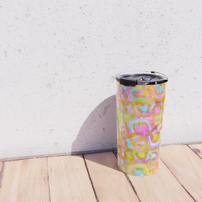 Rainbow Pastel Abstract Typography Watercolor Painting Travel Mug