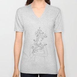 Minimal Line Art Woman with Wild Roses Unisex V-Neck