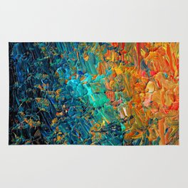 ETERNAL TIDE 2 Rainbow Ombre Ocean Waves Abstract Acrylic Painting Summer Colorful Beach Blue Orange Rug