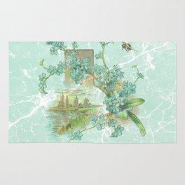 Modern vintage mint marble floral landscape Rug