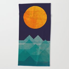 The ocean, the sea, the wave - night scene Beach Towel