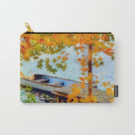 Boat Under Falling Leaves Carry-All Pouch