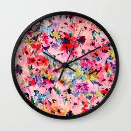 Little Peachy Poppies Wall Clock