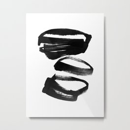 Black and White Abstract Shapes Ink Painting Metal Print
