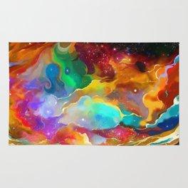 Colorful Liquid Acid Art Cosmic Galaxy Night Sky Rug