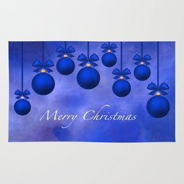 Merry Christmas Ornaments Bows and Ribbons – Blue Rug