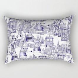 Doctor Who Toile de Jouy | 'Walking Doodle' | Blue Rectangular Pillow