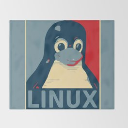 Linux tux Penguin poster head red blue  Throw Blanket
