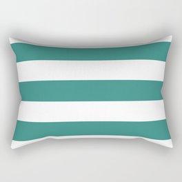 Celadon green - solid color - white stripes pattern Rectangular Pillow