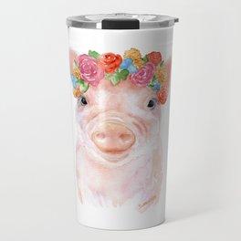 Piglet Floral Watercolor Travel Mug