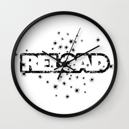 Reload - Bullet Holes - Weapon-Humor-Joke-Pop Culture Wall Clock