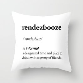 Rendezbooze black and white contemporary minimalism typography design home wall decor bedroom Throw Pillow
