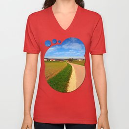A road, a village and summer season | landscape photography Unisex V-Neck