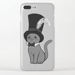 Grey Cat Wears Plumed Top Hat Clear iPhone Case